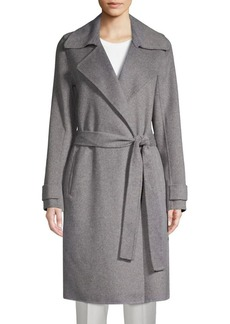 Badgley Mischka Double-Faced Wool-Blend Wrap Coat