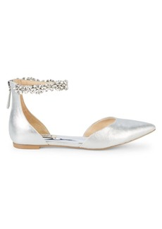 Badgley Mischka Edge Embellished Metallic-Leather d'Orsay Flats