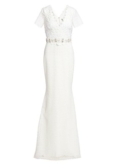 Badgley Mischka Embellished-Belt Floral Lace Gown