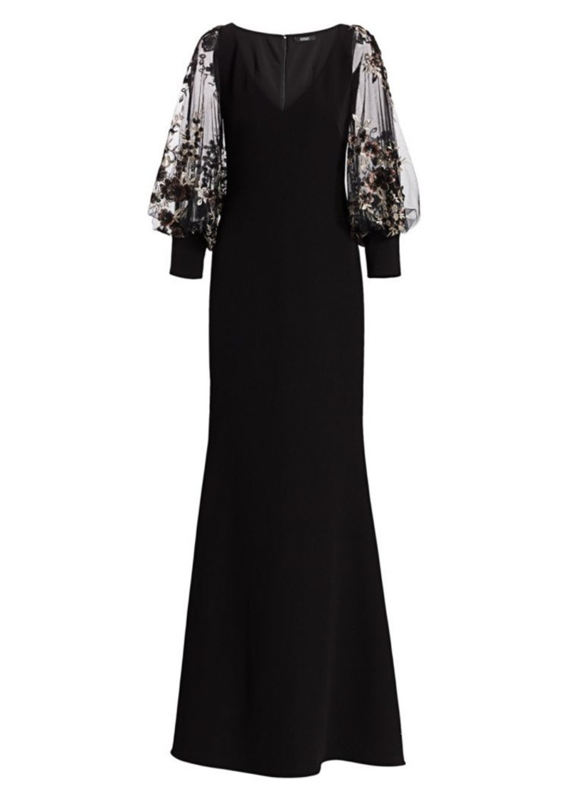 Badgley Mischka Embellished Blouson Sleeve Gown