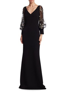 Badgley Mischka Embellished Blouson Sleeve Gown