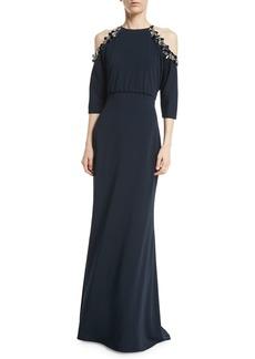 Badgley Mischka Embellished Cold-Shoulder 3/4-Sleeve Blouson Gown