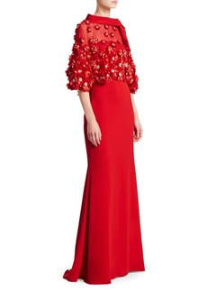 Badgley Mischka Embellished Popover Gown