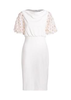 Badgley Mischka Embellished Sheer Puff-Sleeve Sheath Dress