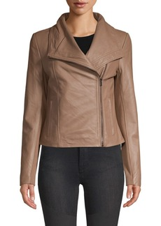 Badgley Mischka Envelope Collar Leather Jacket