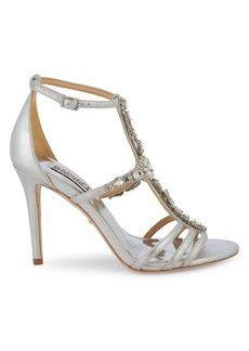 Badgley Mischka Essie II Jeweled Metallic Leather Sandals