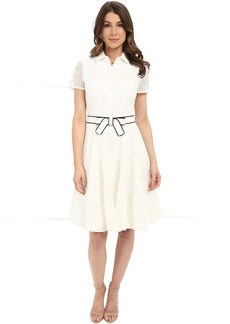 Badgley Mischka Eyelet Combo Shirtdress with Belt