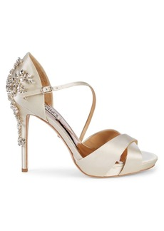 Badgley Mischka Fame Embellished Satin d'Orsay Pumps