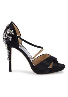 Badgley Mischka Fame Embellished Satin Sandals