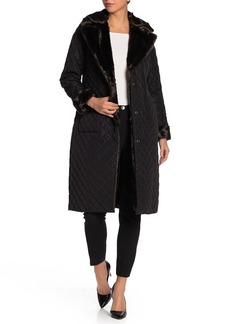 Badgley Mischka Faux Fur Quilted Jacket