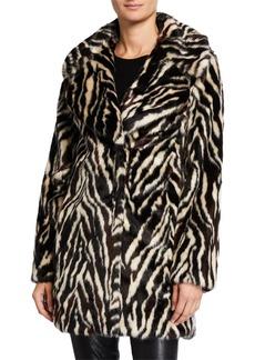Badgley Mischka Faux-Fur Zebra-Print Coat