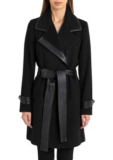 Badgley Mischka Faux-Leather Trim Wool-Blend Belted Coat