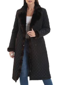 Badgley Mischka Faux-Mink Quilted Coat