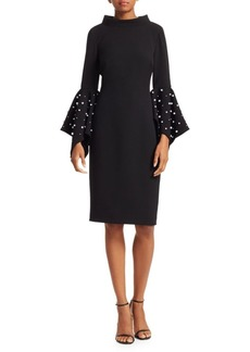 Badgley Mischka Faux Pearl Bell-Sleeve Sheath Dress