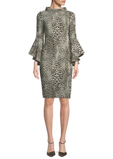 Badgley Mischka Flair Leopard-Print Dress w/ Trumpet Sleeves