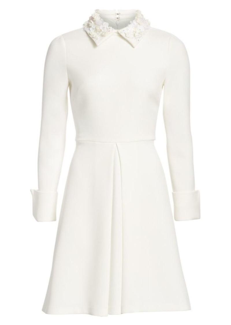 Badgley Mischka Floral Appliqué Collar A-Line Dress