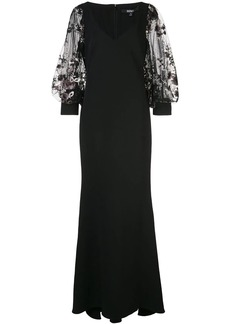 Badgley Mischka floral appliqué evening v-ngown