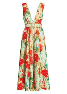 Badgley Mischka Floral Belted Cocktail Dress