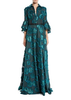 Badgley Mischka Floral Fil-Coupe Shirtwaist Gown w/ Belted Waist