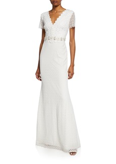 Badgley Mischka Floral Lace V-Neck Short-Sleeve Gown w/ Jeweled Belt