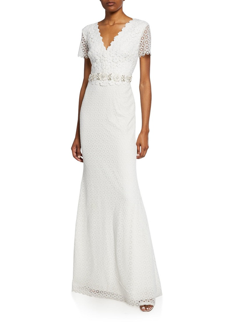 Floral Lace V-Neck Short-Sleeve Gown w/ Jeweled Belt