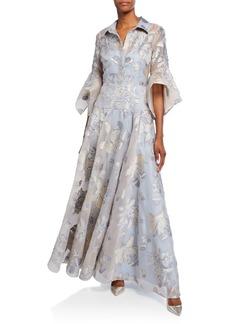 Badgley Mischka Floral Organza Stripe Shirt Trumpet-Sleeve Gown