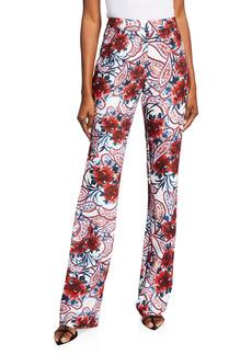 Badgley Mischka Floral Paisley-Print Crepe Pants