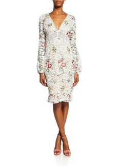 Badgley Mischka Floral-Print Long-Sleeve Boho Lace Cocktail Dress