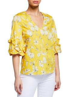 Badgley Mischka Floral-Print Ruffle-Sleeve Blouse