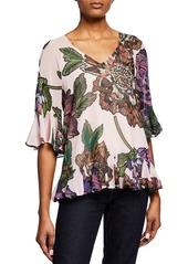Badgley Mischka Floral Print Tie-Back Top