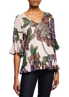 Badgley Mischka Floral Print Tie-Back Top