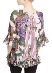 Badgley Mischka Floral-Print V-Neck Peasant Top