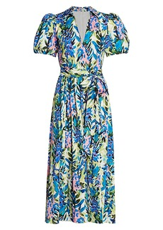 Badgley Mischka Floral Puff-Sleeve Belted Dress