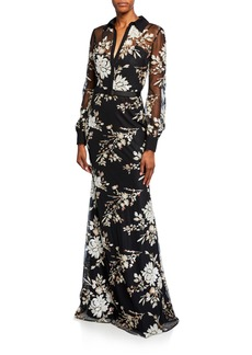 Badgley Mischka Floral Sequin Long-Sleeve Shirtdress