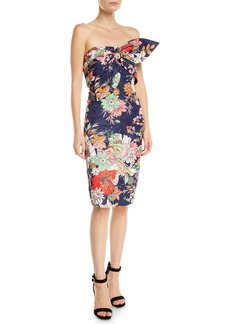 Badgley Mischka Floral Strapless Bow Bustier Dress