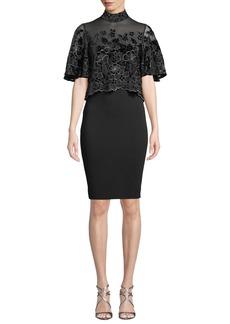 Badgley Mischka Floral Velvet Burnout Popover Dress