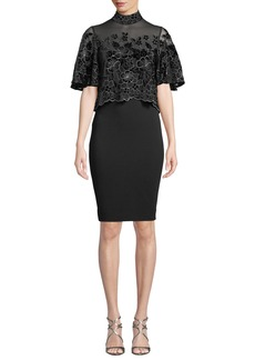 Badgley Mischka Floral Velvet Burnout Popover Dress