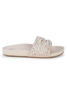 Badgley Mischka Florence Imitation Pearl Slide Sandals
