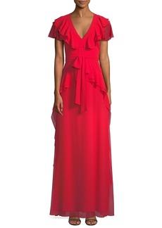 Flutter-Sleeve Peplum-Waist Gown