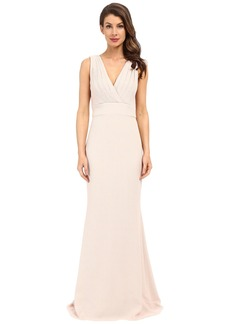 Badgley Mischka Foil Crepe V-Neck Dress