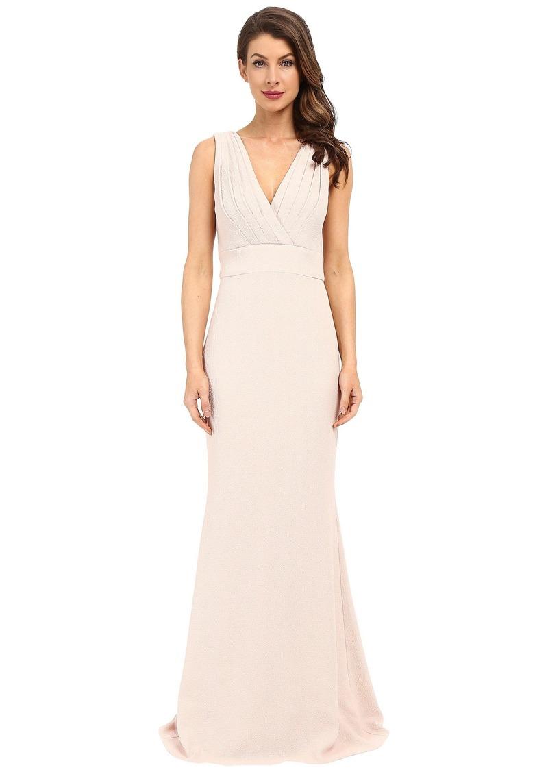 Badgley Mischka Foil Crepe V-Neck Dress
