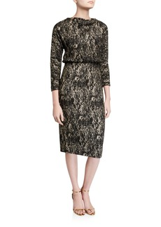Badgley Mischka Foiled High-Neck 3/4-Sleeve Blouson Dress