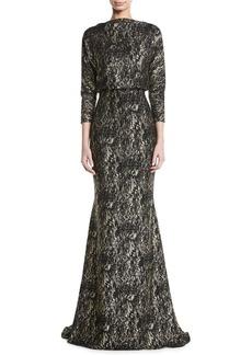 Badgley Mischka Foiled Long-Sleeve Gown w/ Blouson Bodice