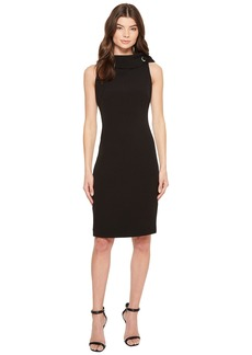 Badgley Mischka Folded Collar Crepe Dress