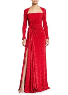 Badgley Mischka Fortuni Knotted Long-Sleeve Drape Dress