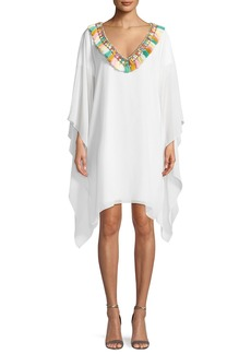 Badgley Mischka Fringe Pompom V-Neck Caftan Dress