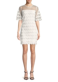 Badgley Mischka Fringed Lace Mini Dress