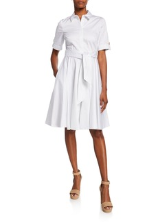 Badgley Mischka Full Skirt Short-Sleeve Day Dress