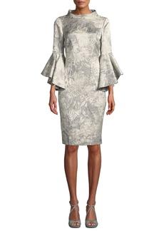 Badgley Mischka Funnel-Neck Flutter-Sleeve Floral-Jacquard Cocktail Dress
