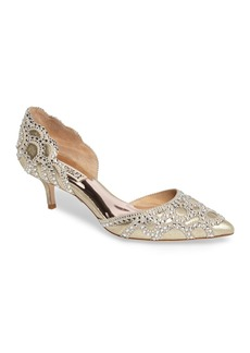 Badgley Mischka Ginny Embellished d'Orsay Kitten Heel Pump